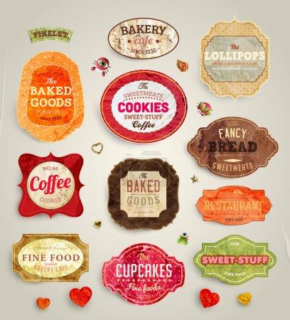 Ilustración de Conjunto de retro panadería y café etiquetas, cintas y tarjetas de diseño vintage, texturas de papel viejo - Imagen libre de derechos