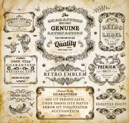 Illustration for Vector set of calligraphic design elements: page decoration, Premium Quality and Satisfaction Guarantee Label, antique and baroque frames Old paper texture with dirty footprints of a cup of coffee. - Royalty Free Image