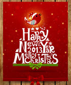 Happy New Year 2013 and Merry Christmas lettering for vintage Xmas design bird snowflake and green ribbon bow retro grunge background eps10 vector illustration