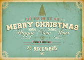 Vintage Christmas Card with engraving tree and grunge background for Xmas invitation design