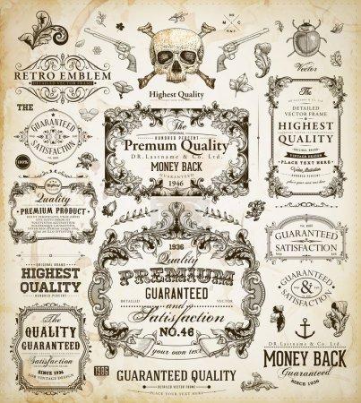 Illustration pour Ensemble d'éléments de dessin calligraphique de vector : la page décoration, qualité et Satisfaction garantie Label, cadres antiques et baroques - image libre de droit