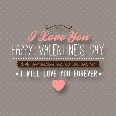 Illustration pour Heureuse Saint Valentin carte design. 14 février. Je t'aime. vecteur fond vintage. modèle sans couture. - image libre de droit