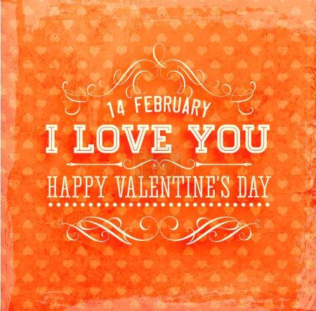 Illustration pour Heureuse Saint Valentin carte design. 14 février. Je t'aime. vecteur fond vintage. modèle sans couture. couleur orange. - image libre de droit