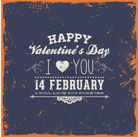 Illustration pour Heureuse Saint Valentin carte design. 14 février. Je t'aime. grunge de vecteur de texture fond vintage. façonné à l'ancienne. - image libre de droit