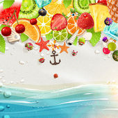 Summer holidays vector illustration set with palms sun sea fruits and berries Coconut strawberry pineapple watermelon cherry orange and lemon sea and beach sand for best summer design