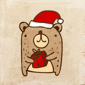 Cartoon Bear with Santa Hat and Christmas Gift Box Cute Hand Drawn Vector illustration Vintage Paper Texture Background