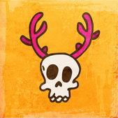 Cartoon Skeleton Skull with Deer Antlers