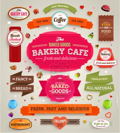 Illustration for Set of retro bakery labels, ribbons and cards for vintage design, old paper textures - Royalty Free Image