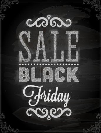 Illustration for Black Friday Calligraphic Chalkboard Design, Chalk Texture - Royalty Free Image