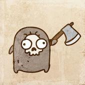 Cartoon Skull Monster with an Ax