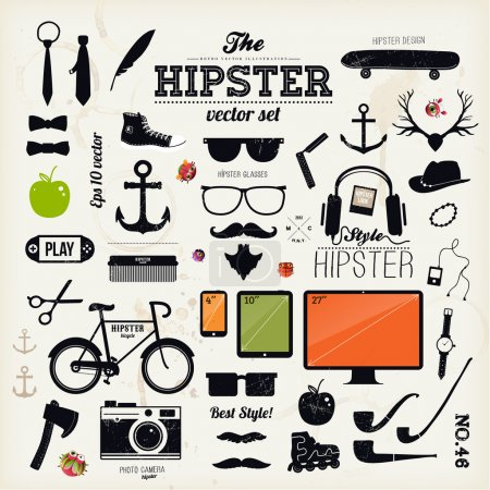 Photo pour Eléments d'infographie de style Hipster et icônes réglées pour un design rétro. Avec vélo, lunettes de soleil, moustache, arc, ancres, pomme et appareil photo. Illustration vectorielle . - image libre de droit