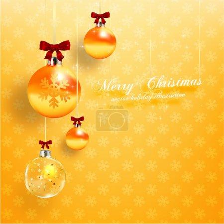 Christmas balls, golden Xmas baubles