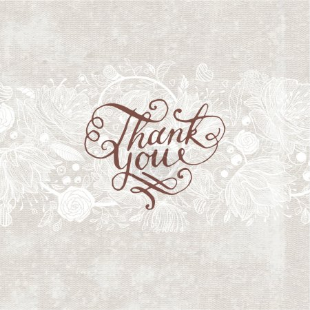 Illustration for Hand Made Calligraphy Lettering Thank You. Flower Ornament, Retro Textured Background. - Royalty Free Image