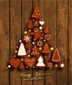 Christmas Tree Christmas Cookies Set - Gingerbread man Xmas Tree Star Heart All for Xmas Cards Design Wood Texture Background
