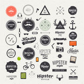 Hipster style infographics elements and icons set for retro design With bicycle phone sunglasses mustache bow anchors apple and camera Vector illustration