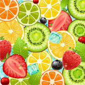 Summer holidays vector illustration set with cocktail fruits and berries Strawberry cherry orange lemon and ice cube for best summer design