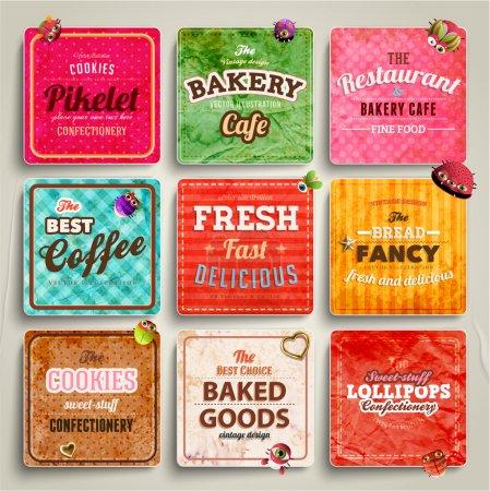Illustration pour Ensemble d'étiquettes boulangerie rétro, rubans et cartes pour design vintage, vieux textures de papier - image libre de droit