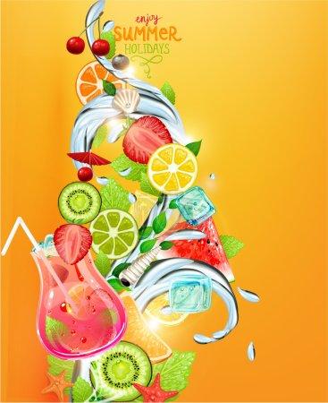 Illustration pour Illustration vectorielle vacances d'été sertie de fruits à cocktail et de baies. Fraise, cerise, orange, citron et glaçon pour un meilleur design estival . - image libre de droit