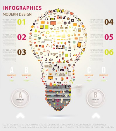 Icons light bulb. Business infographic template.