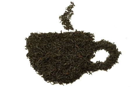 Abstract tea cup made of tea leaves