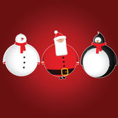 Set of 3 christmas characters - snowman bearded santa penguin in scarf