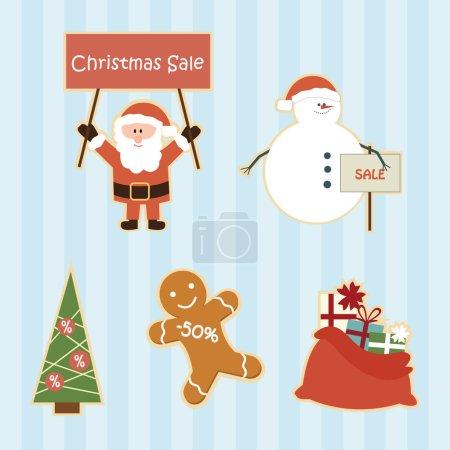 Set of funny cartoon christmas sale elements
