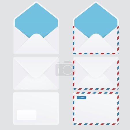 Illustration pour Lot de 6 enveloppes brillantes (courrier terrestre et aérien ) - image libre de droit