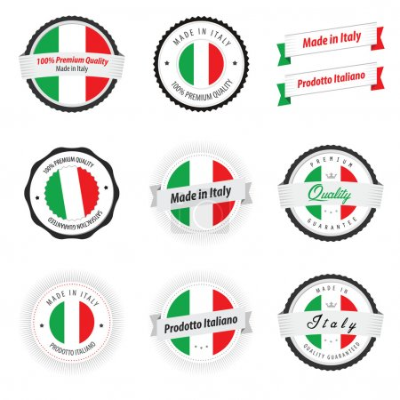 Made in Italy. Set of glossy labels and badges...
