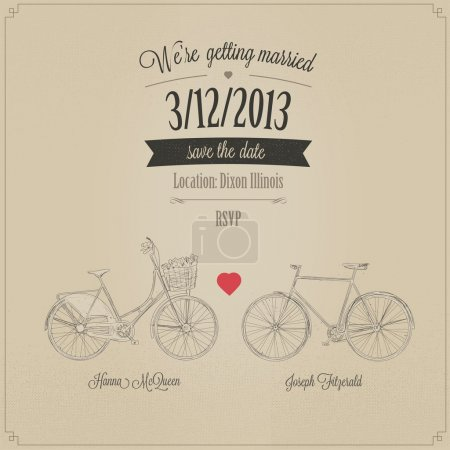 Illustration for Grunge retro wedding invitation with tandem vintage bicycles - Royalty Free Image