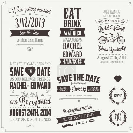 Illustration for Set of wedding invitation vintage typographic design elements - Royalty Free Image