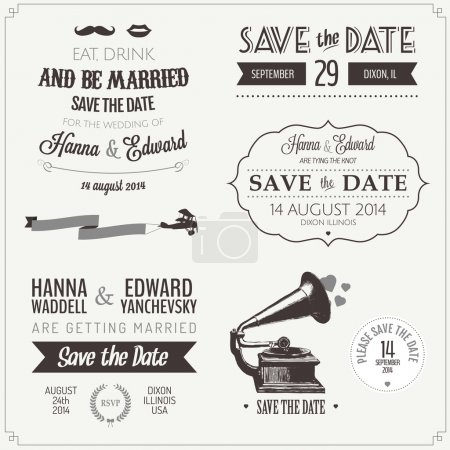 Photo for Set of wedding invitation vintage typographic design elements - Royalty Free Image