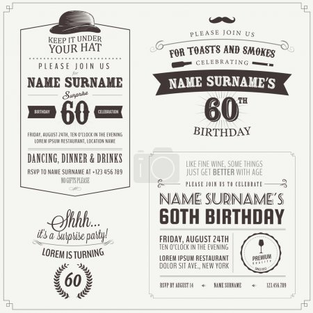 Photo for Set of adult birthday invitation vintage typographic design elements - Royalty Free Image