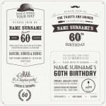 Set of adult birthday invitation vintage typograph...