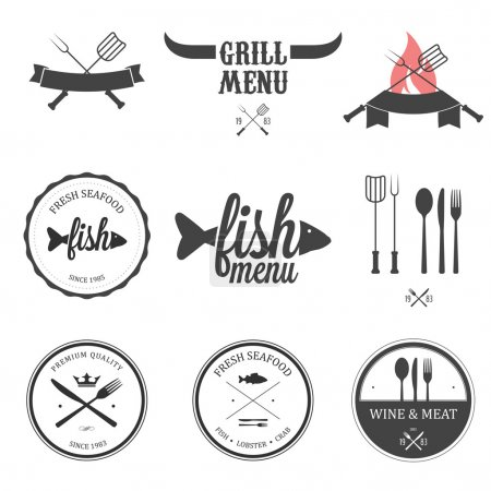 Photo for Restaurant menu design elements, labels and badges set - Royalty Free Image
