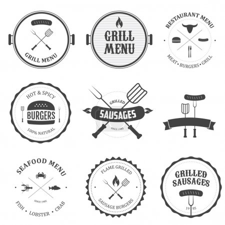 Illustration pour Menu restaurant vintage éléments de design et badges ensemble - image libre de droit