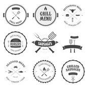 Restaurant menu vintage design elements and badges set
