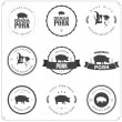 Set of premium pork meat labels isolated on white ...