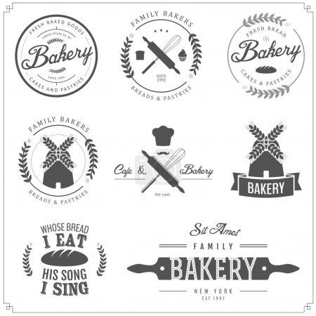Illustration pour Ensemble d'étiquettes de boulangerie, badges et éléments de design isolés sur fond blanc - image libre de droit