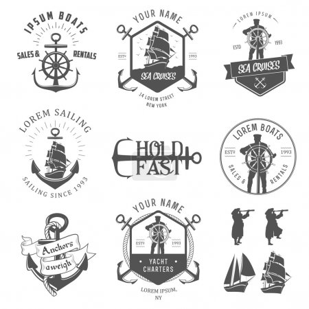 Illustration for Set of vintage nautical labels, icons and design elements isolated on white background - Royalty Free Image