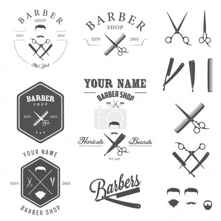 Set of barber shop labels, badges and design elements