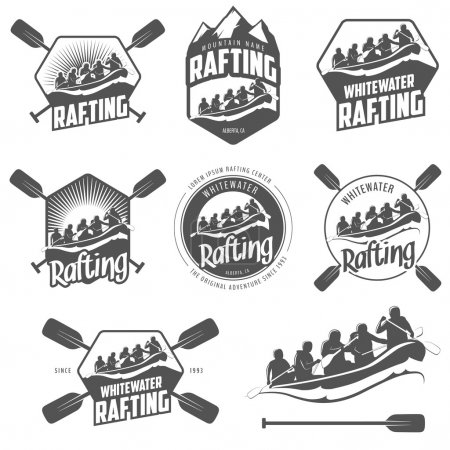 Set of whitewater rafting labels and badges