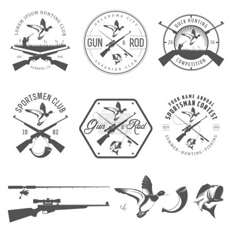 Set of hunting and fishing labels and design elements