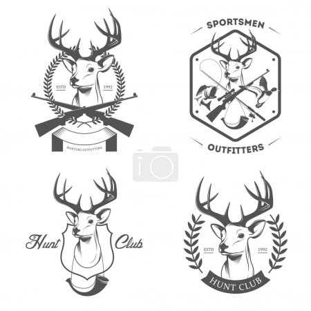 Set of hunting and fishing labels and badges