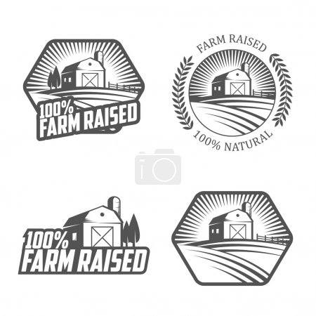 Illustration for Set of vintage farm raised labels and badges - Royalty Free Image