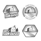 Set of vintage farm raised labels and badges