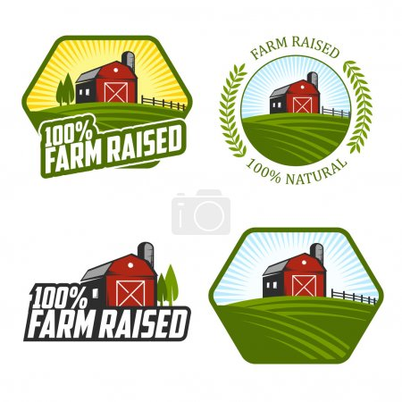 Illustration for Set of vintage farm raised labels and badges - Royalty Free Image