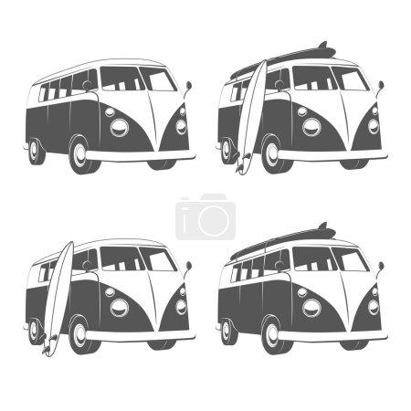 Camper bus van with surfboards