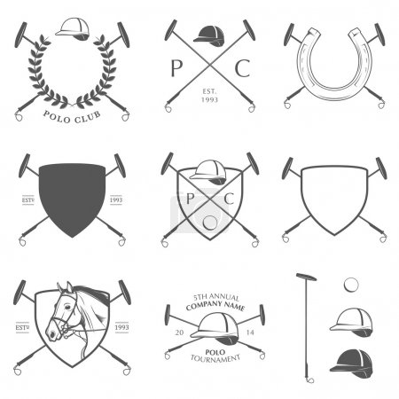 Set of horse polo labels, badges and design elements