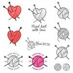 Set of vintage hand knit labels, badges and design...
