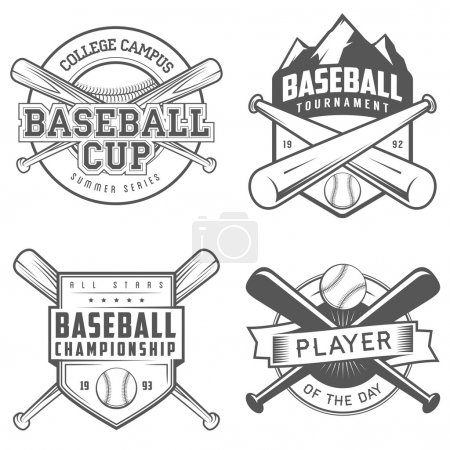 Set of baseball labels and badges